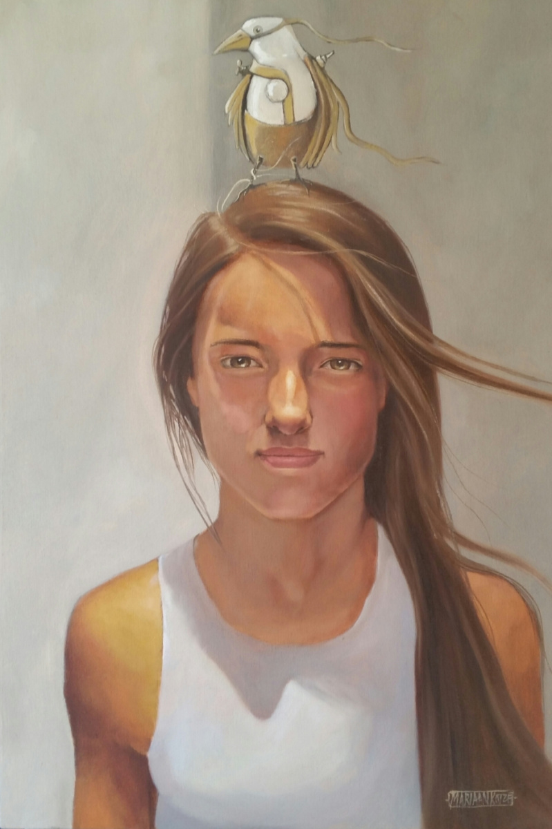 40x60cm Young Girl with Bird