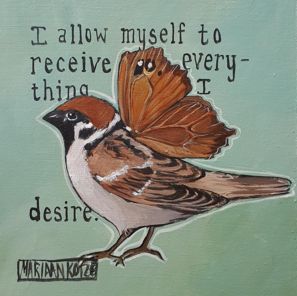 Bird painting with positive affirmation   -13x13cm
