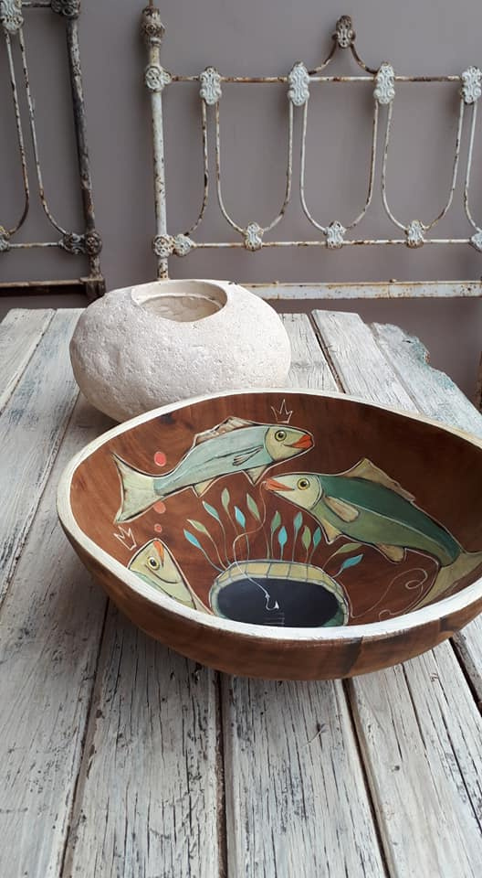 Painted wooden bowl
