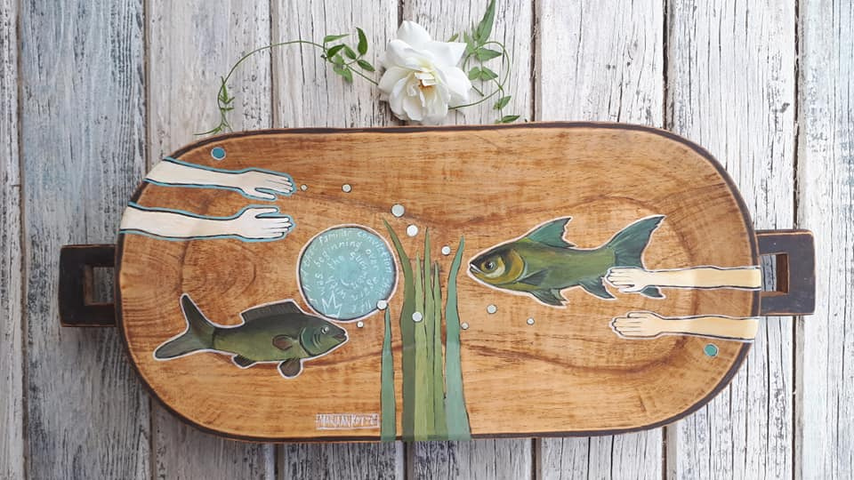 Wooden Bowl with Fishes