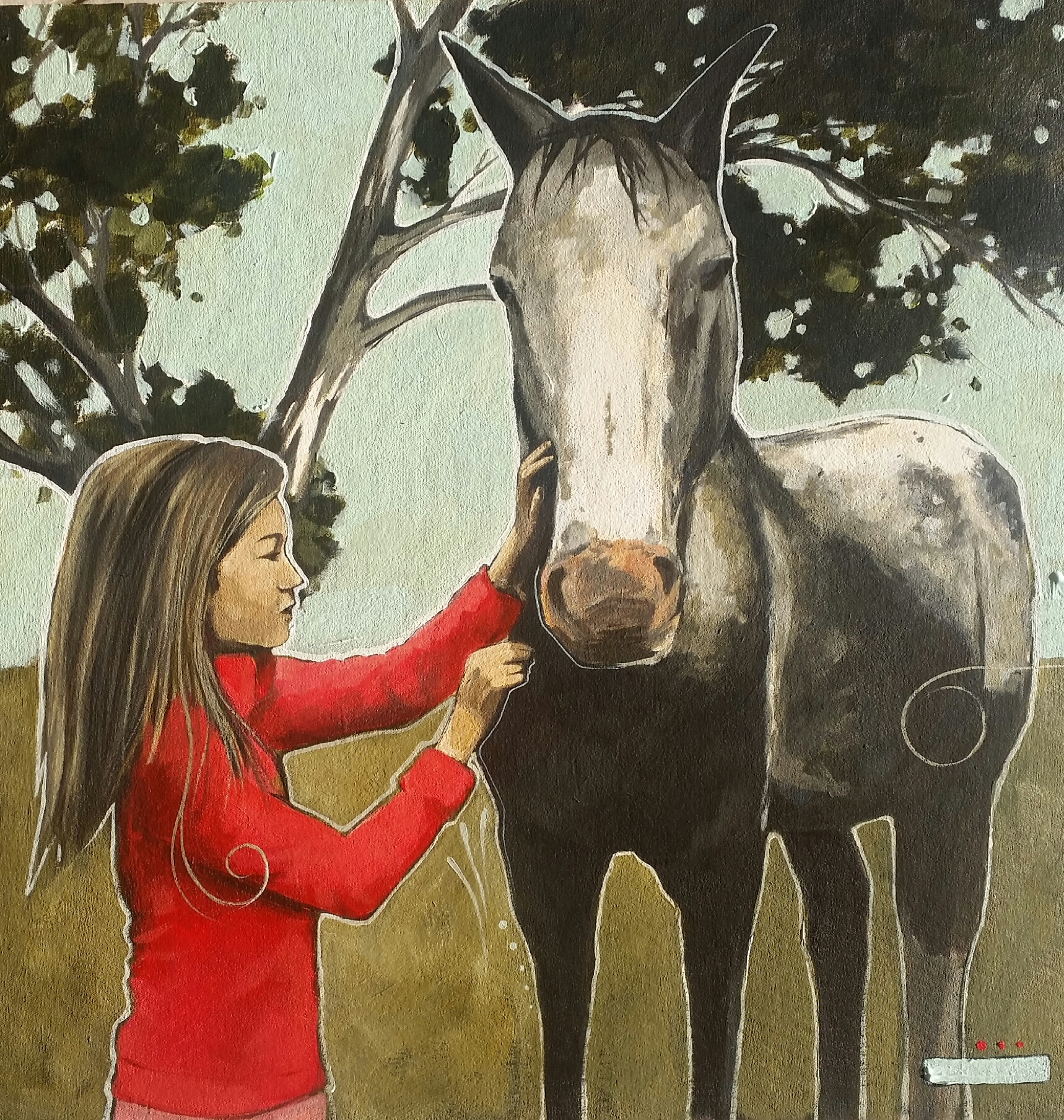 Little girl and her horse friend