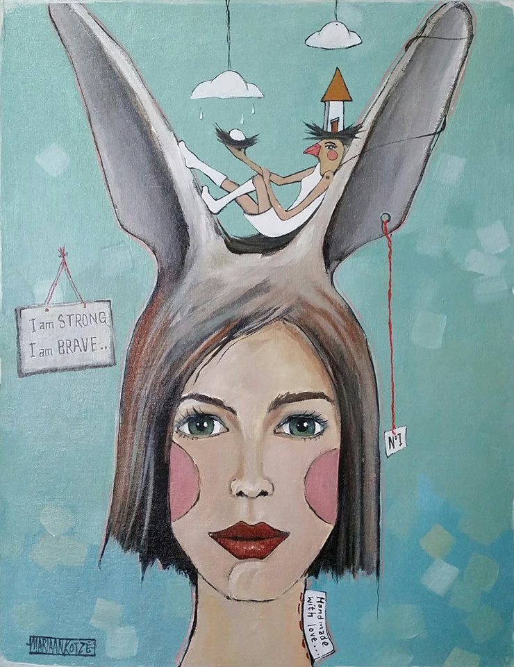 Whimsical symbolic painting of girl with rabbit ears