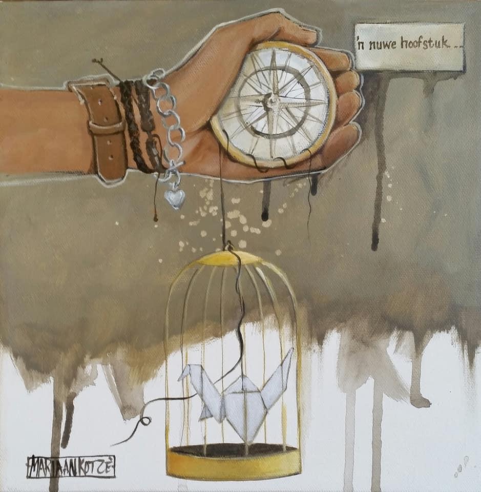 'n Nuwe Hoofstuk / A new chapter - painting 15x15cm
