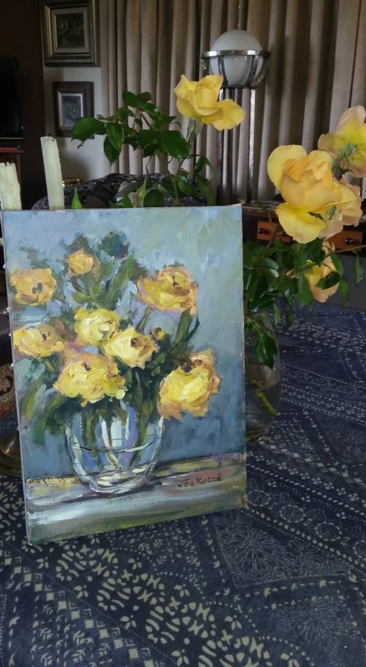 Floral painting by Joe, for me, my mom is synonym with beautiful little arraignments of flowers. Welcoming little splashes of colour in every room in their house.