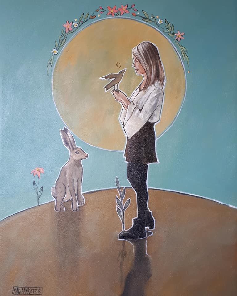 Girl in conversation with little bird: 18M20 35x45cm R3900