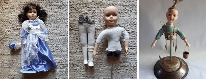Porcelain doll getting transformed