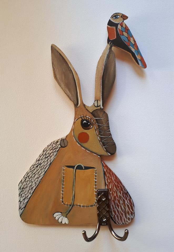 Hand painted key holder cut-out rabbit on 6 mm wood