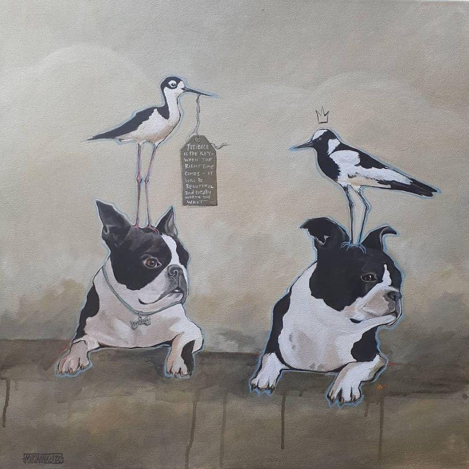 Mariaan Kotze between her Lock-Down Paintings
