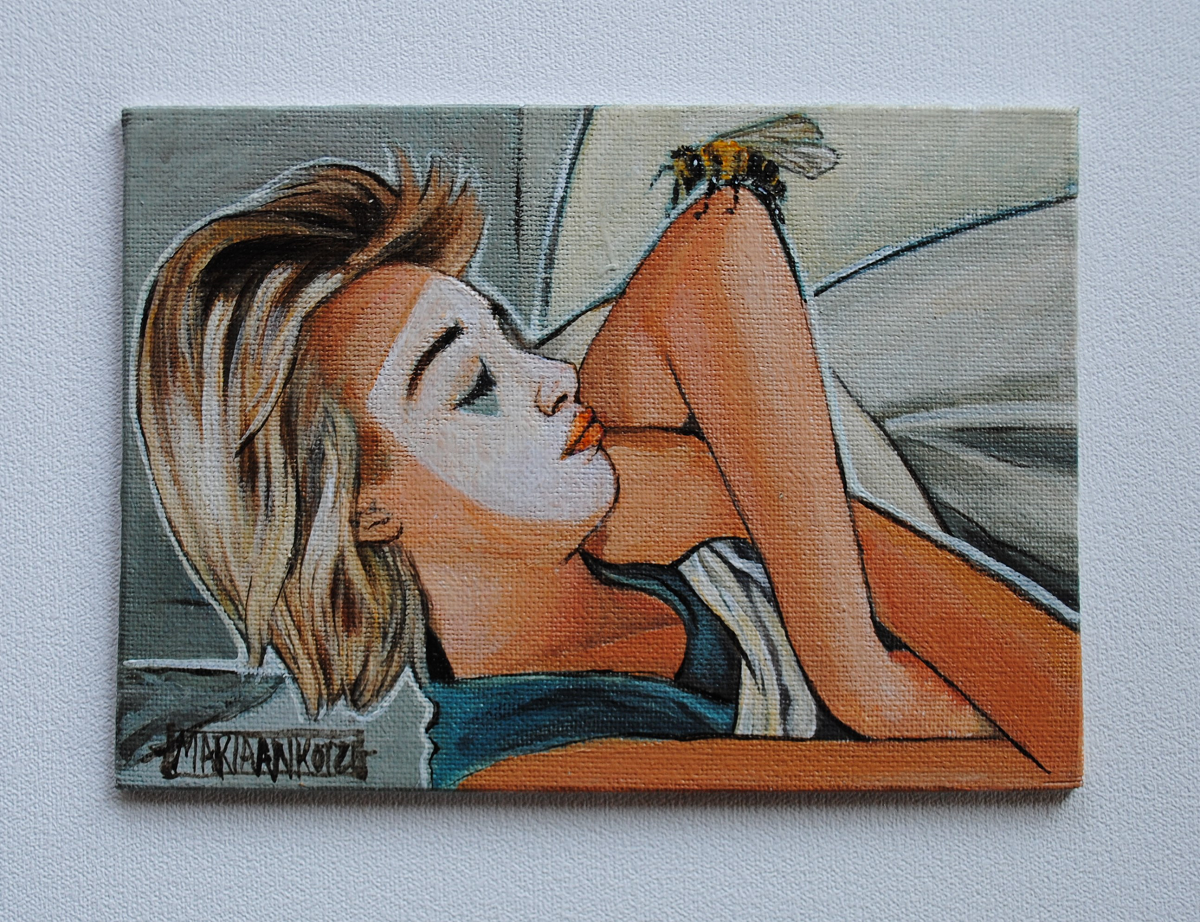 Painting of a blonde girl sleeping with a bee on her elbow in an orange blue and grey pallet