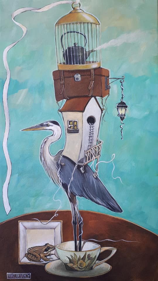Symbolic painting Bird with house on back Let go