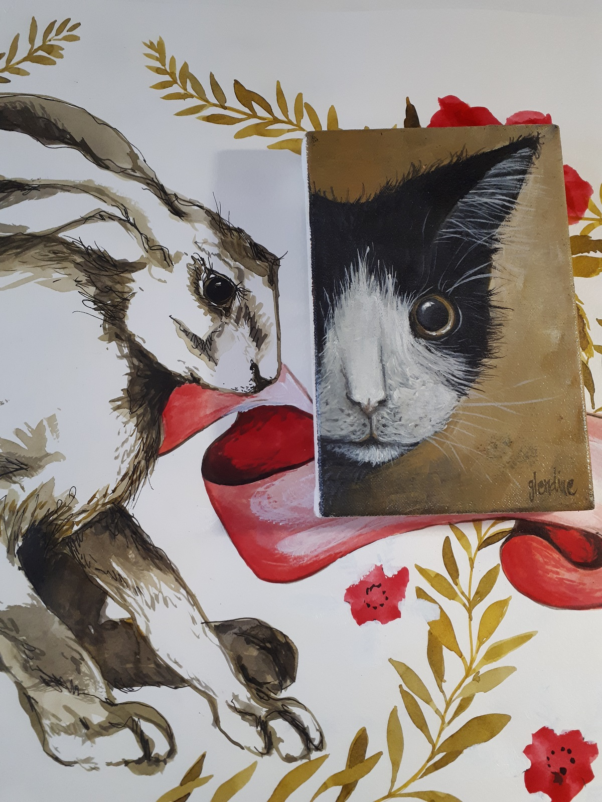 Rabbit and cat paintings by Glendine
