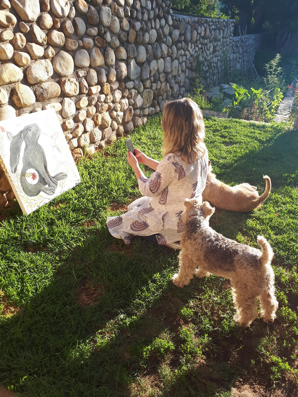 Glendine and her dogs