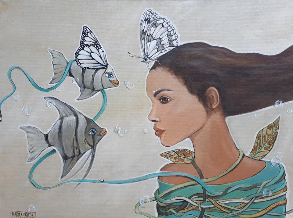 Girl and Angel Fishes painting